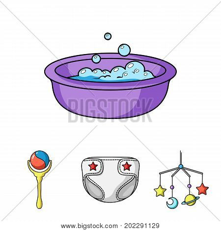 Children's diapers, a toy over the crib, a rattle, a children's bath.Baby born set collection icons in cartoon style vector symbol stock illustration .