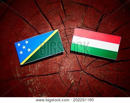 Solomon Islands Flag With Hungarian Flag On A Tree Stump Isolated