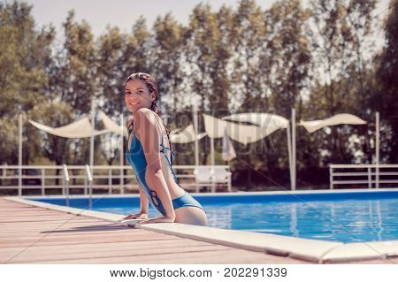 Smiling One Young Adult Woman Caucasian, Model, One Piece Swimsuit, Exiting, Going Out Of Swimming P