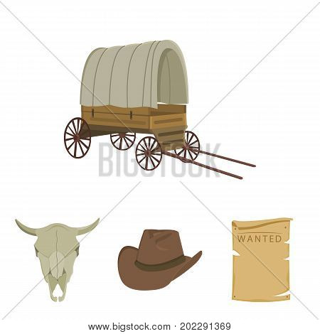 Cowboy hat, is searched, cart, bull's skull. Wild West set collection icons in cartoon style vector symbol stock illustration .