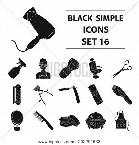 Male barber, symbol, clipper and other equipment for hairdressing.Barbershop set collection icons in black style vector symbol stock illustration .