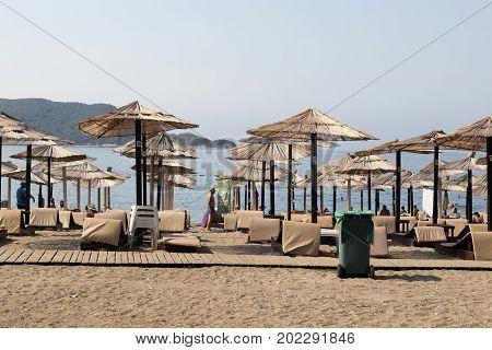 BUDVA, MONTENEGRO - AUGUST 04, 2017:Morning beach on the Adriatic coast Montenegro