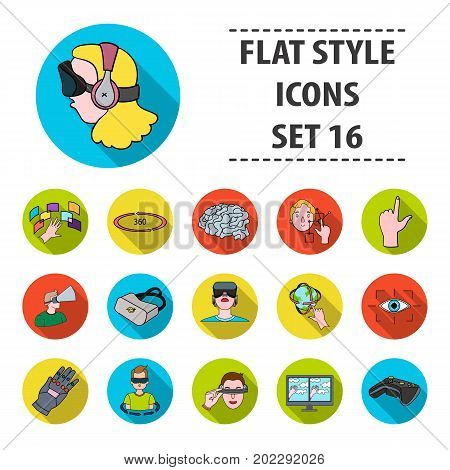 Virtual reality set icons in flat design. Big collection of virtual reality vector symbol stock illustration