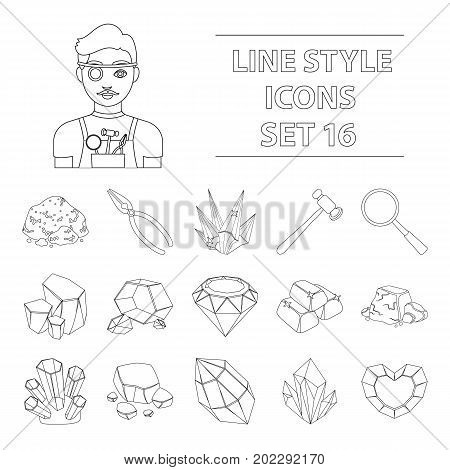 Precious minerals and jeweler set icons in outline design. Big collection of precious minerals and jeweler vector symbol stock illustration