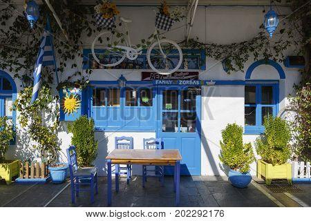 KOS, GREECE - DECEMBER 9, 2016: Decoration of a taverna in Kos town, Greece on December 9, 2016.