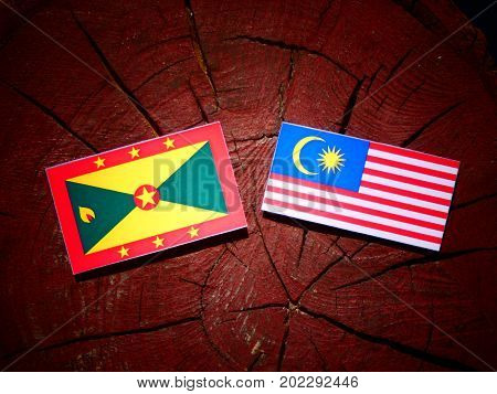 Grenada Flag With Malaysian Flag On A Tree Stump Isolated