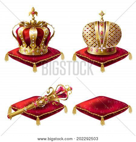 Set of realistic vector illustrations, golden royal crown icons, royal scepter and red velvet ceremonial pillows, isolated on white. Print, design element