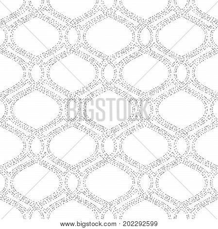 Seamless ornament. Modern background. Geometric pattern with repeating dotted silver wavy lines