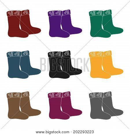 Winter felt boots icon in black design isolated on white background. Russian country symbol stock vector illustration.
