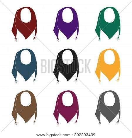 blue summer bandana from the sun.Bandana with knots on the ends.Scarves and shawls single icon in black style vector symbol stock web illustration.