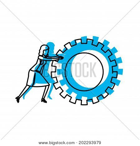businesswoman pushing a big gears cogwheel blue watercolor silhouette vector illustration