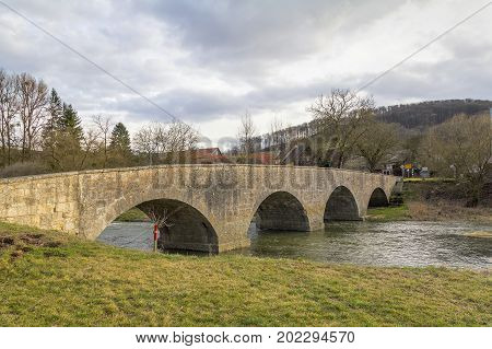 historic stone bridge at a small rural village named Oberregenbach near Langenburg in Hohenlohe a area in Southern Germany