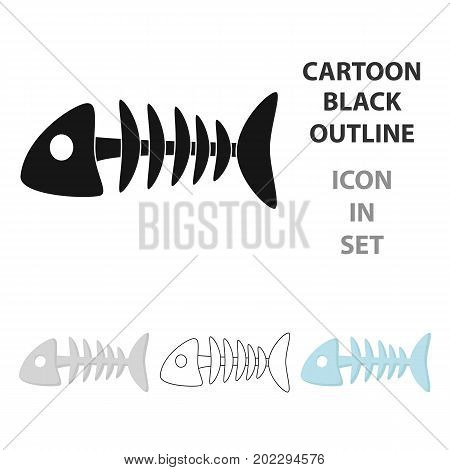 Fish bone icon in cartoon style isolated on white background. Cat symbol vector illustration.