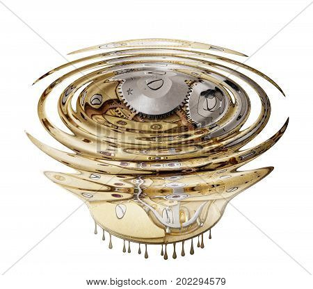 Abstract image of the liquefied clockwork with ripples