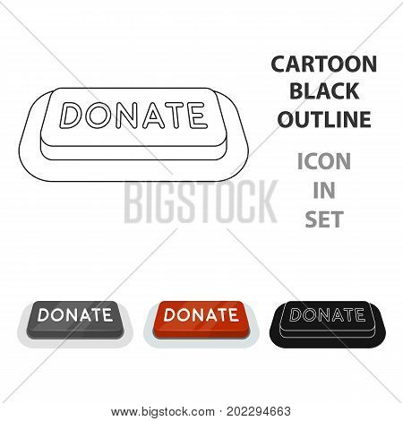 Donate button icon in cartoon design isolated on white background. Charity and donation symbol stock vector illustration.