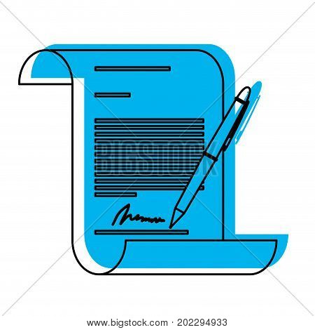 continuously sheet contract document firm and pen in blue watercolor silhouette vector illustration