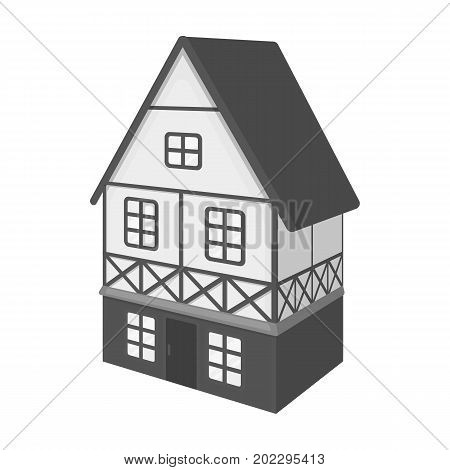 Stylized English cottage. Architectural cottage building single icon in monochrome style vector symbol stock illustration .