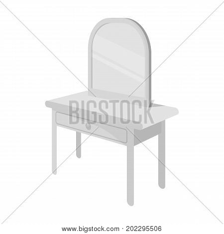 Dressing table with mirror. Furniture and interior single icon in monochrome style Isometric vector symbol stock illustration .