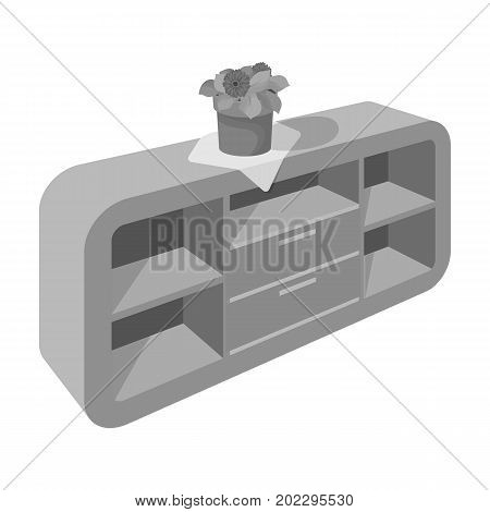 Chest, shelving with shelves and flower. Furniture and interior single icon in monochrome style Isometric vector symbol stock illustration .
