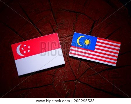 Singaporean Flag With Malaysian Flag On A Tree Stump Isolated