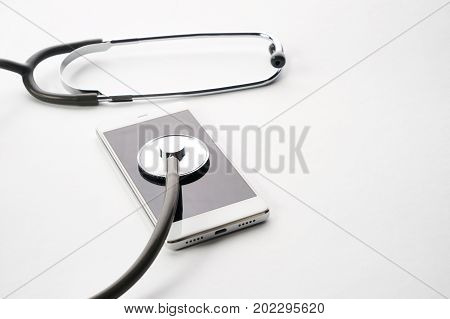 Smartphone Being Diagnosed With A Stethoscope