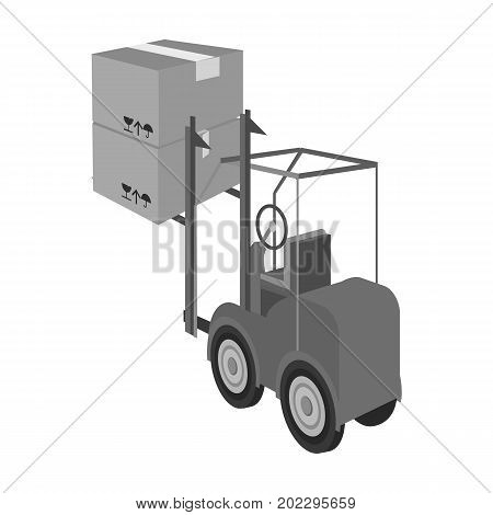 Cargo transportation by means of a loader. Transportation and delivery single icon in monochrome style isometric vector symbol stock illustration .