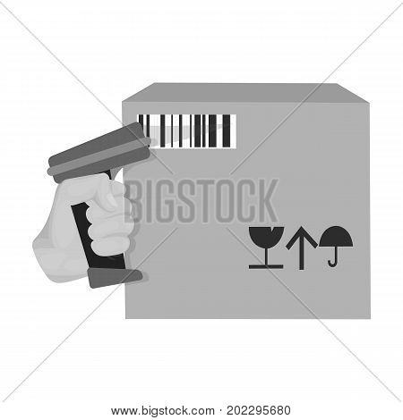 Scan the bar code on the box. Logistics and delivery single icon in monochrome style isometric vector symbol stock illustration .