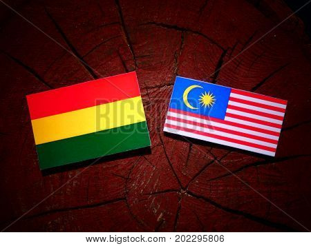 Bolivian Flag With Malaysian Flag On A Tree Stump Isolated