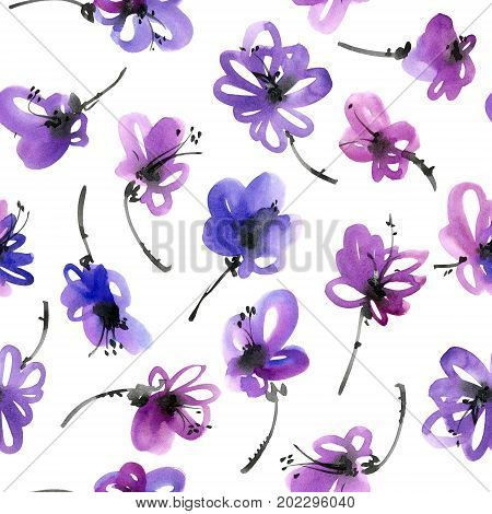 Watercolor and ink illustration of flowers. Sumi-e u-sin painting. Seamless pattern.