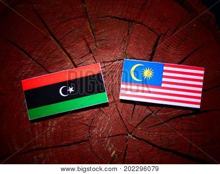 Libyan Flag With Malaysian Flag On A Tree Stump Isolated