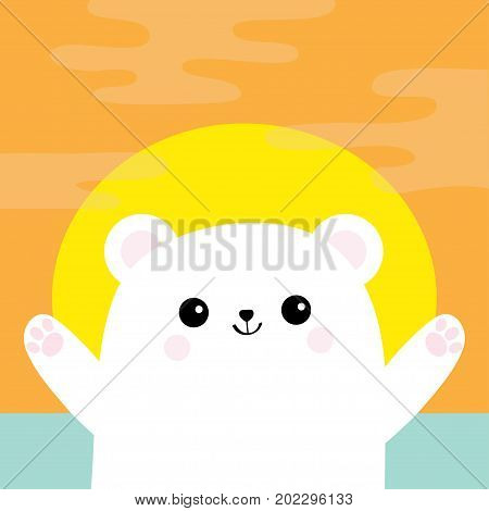 Polar white small little bear cub. Reaching for a hug. Cute cartoon baby character. Open hand ready for a hugging. Arctic animal collection. Flat design. Sunset sundown orange cloud background. Vector