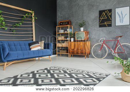 Blue Sofa With Cushions