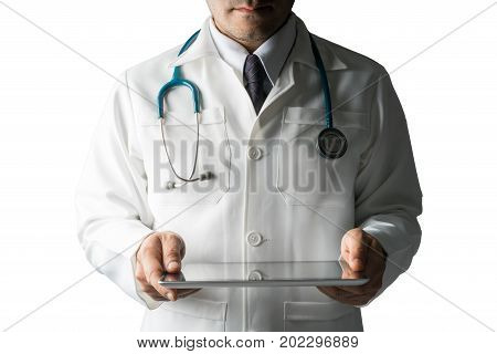 Isolated Image Of Doctor Holding Tablet Computer