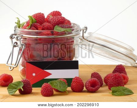 Jordanian Flag On A Wooden Panel With Raspberries Isolated On A White Background
