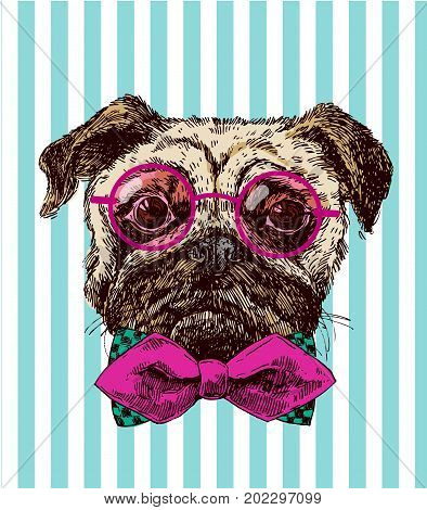 Hand drawn vector illustration dog. Sketch style pug-dog. Symbol of 2018 new year. Us for Invitations, flyers, postcards, smartphone covers etc