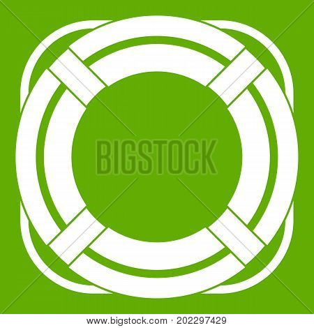 Lifebuoy icon white isolated on green background. Vector illustration