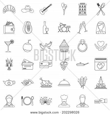 Wedding banquet icons set. Outline style of 36 wedding banquet vector icons for web isolated on white background