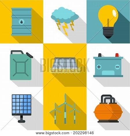 Energetic icon set. Flat style set of 9 energetic vector icons for web design