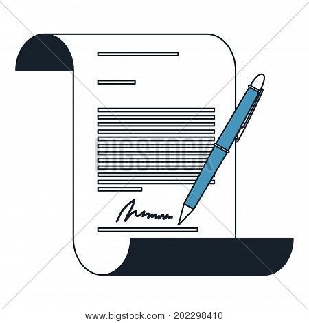 continuously sheet contract document firm and pen in color blue sections silhouette vector illustration
