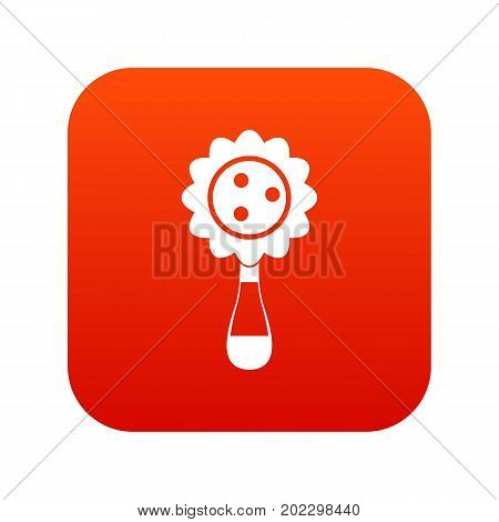 Rattle baby toy icon digital red for any design isolated on white vector illustration