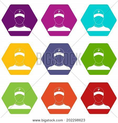 Parking attendant icon set many color hexahedron isolated on white vector illustration