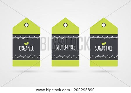 Organic Gluten Sugar Free label set. Vector food icons. Green shopping tag signs with twigs isolated. Illustration symbols for product packaging healthy eating celiac disease diabetic store logo