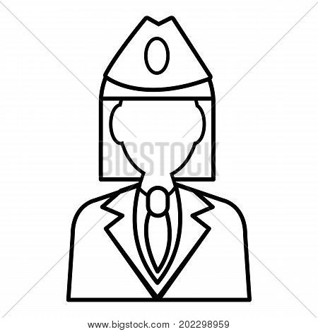 Train conductor icon. Outline illustration of train conductor vector icon for web design isolated on white background