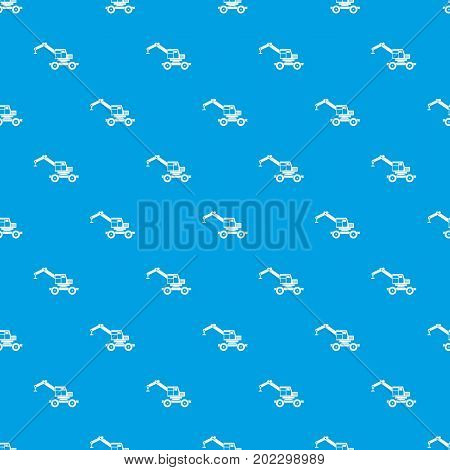 Crane truck pattern repeat seamless in blue color for any design. Vector geometric illustration