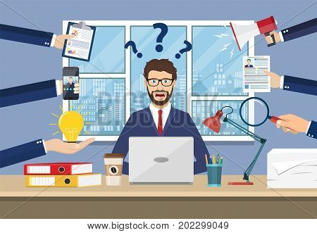Happy businessman with many hands holding papers, coffee, mobile phone. Multitasking and productivity concept. Vector illustration in flat style