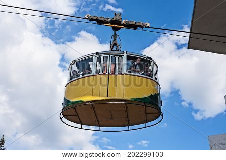 30 June 2017 Pyatigorsk. Russian Federation. People are riding in the car ropeway.