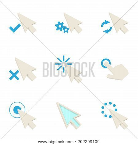 Mouse cursor icons set. Cartoon set of 9 mouse cursor vector icons for web isolated on white background