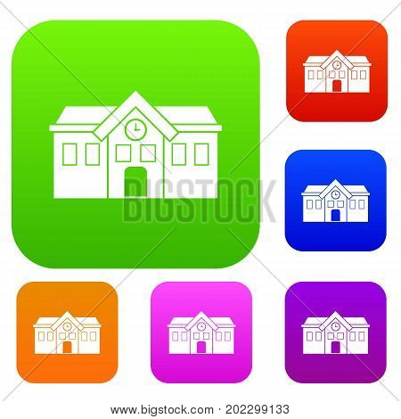 Chapel set icon in different colors isolated vector illustration. Premium collection