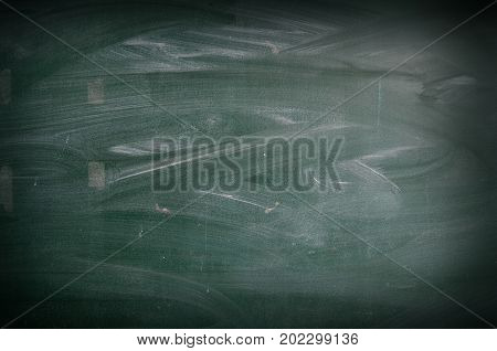 Chalk rubbed out on green blackboard with copy space for add text message