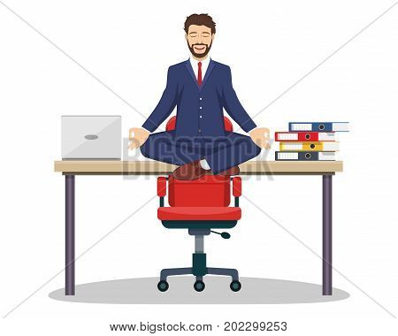 Business man, executive manager sitting on office desk in padmasana lotus yoga pose doing mindful meditation with smiling face. Vector illustration in flat style
